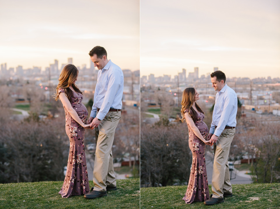 Denver skyline maternity photos