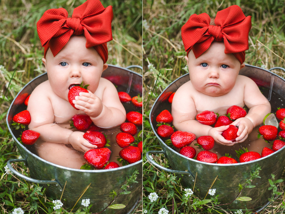 denver baby photographer, colorado family photographer, denver family photographer, 8 months old, baby pics, fruit bath, strawberry, milestone photos, child photographer, babys first year, summertime photos
