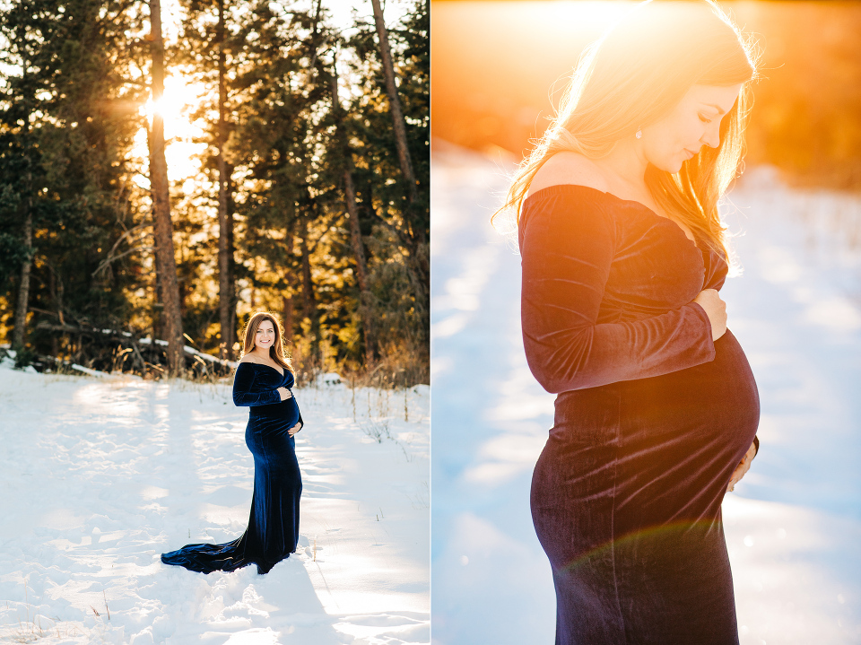 Colorado maternity photographer, winter maternity, golden hour, maternity gown, denver maternity photographer, pregnancy, pregnancy photos