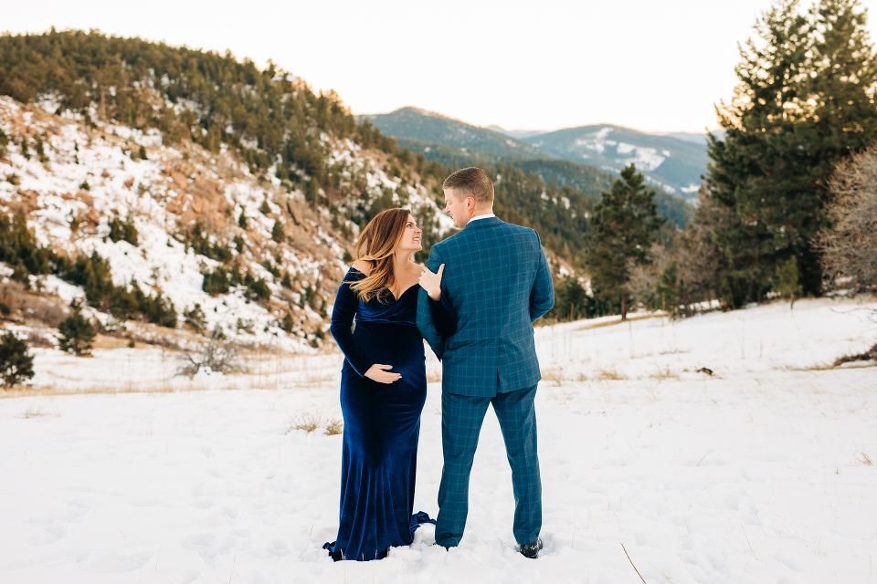 Colorado maternity photographer, winter maternity, golden hour, maternity gown, denver maternity photographer, pregnancy, pregnancy photos, mount Falcon, Indian Hills, maternity
