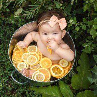 fruit bath photos, baby portrait, baby photographer, denver family photographer, citrus fruit bath, orange lemon fruit bath